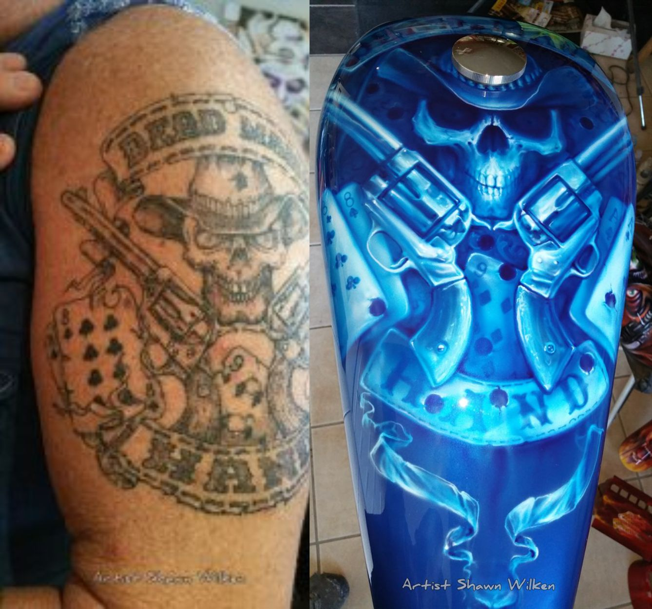 Shawn Wilken Dead Mans Hand Motorcycle Air Brush To The Skin Tattoo