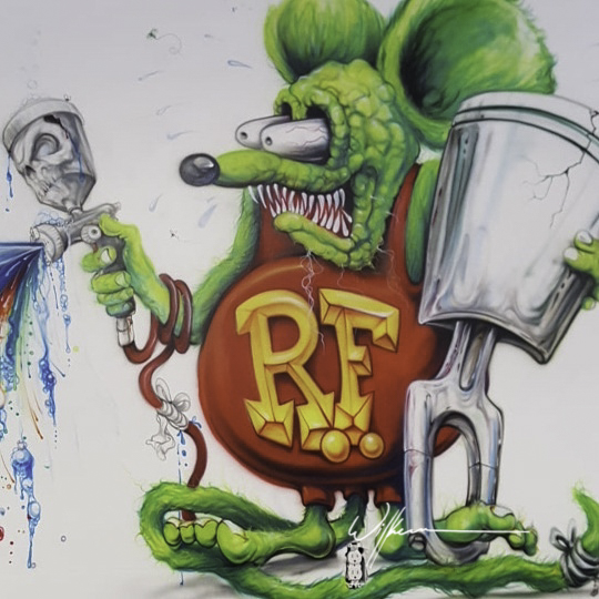 Shawn Wilken | 3 murals in 3 days…  rat fink- skull with flames