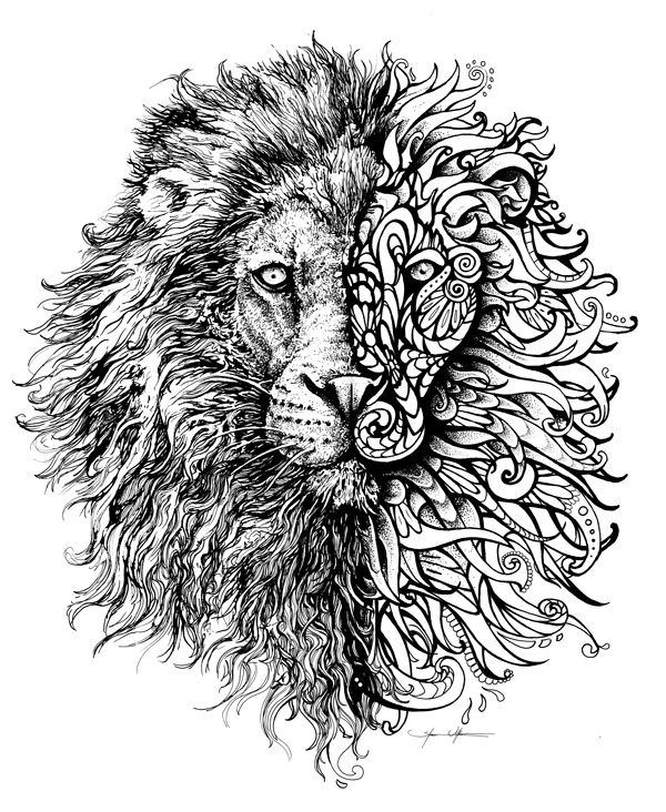 Mehndi Lion Tattoo : Shawn wilken lion head and half henna art